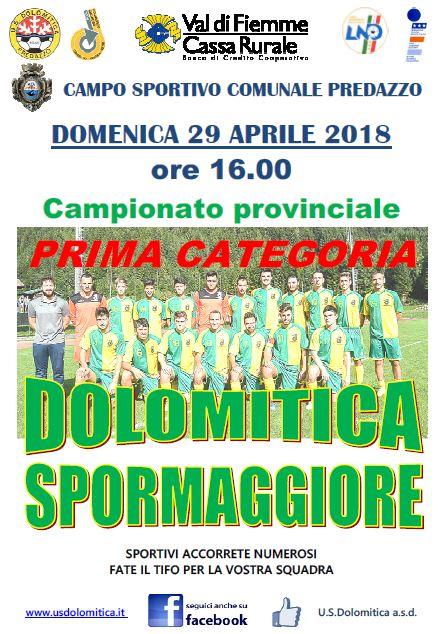29.04 Dolomitica vs Spormaggiore Us Dolomitica, iniziative di avviamento allo sport 2018