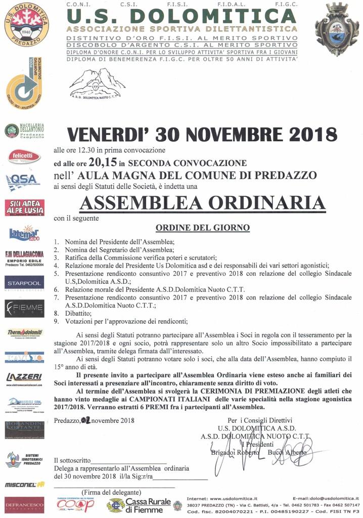 INVITO ASSEMBLEA 30-11-2018